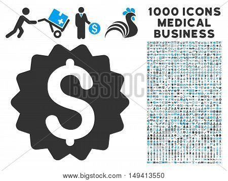 Financial Reward Seal icon with 1000 medical commercial gray and blue vector design elements. Design style is flat bicolor symbols, white background.