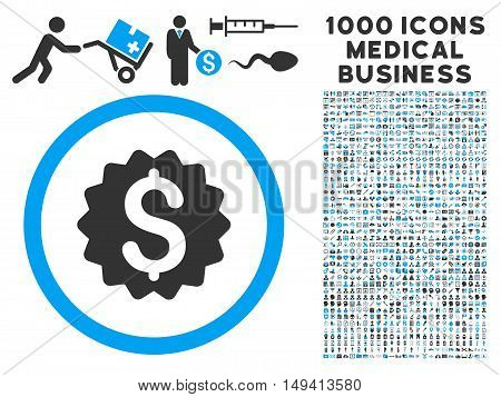 Financial Reward Seal icon with 1000 medical business gray and blue vector pictograms. Clipart style is flat bicolor symbols, white background.