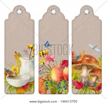Set of decorative autumn tags or bookmarks with watercolor fall leaves