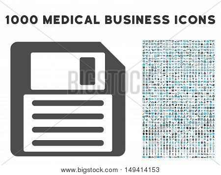 Floppy icon with 1000 medical commerce gray and blue vector design elements. Clipart style is flat bicolor symbols, white background.