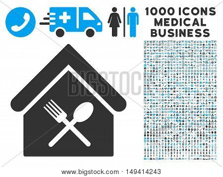 Food Court icon with 1000 medical commercial gray and blue vector pictograms. Clipart style is flat bicolor symbols, white background.
