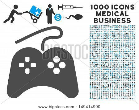 Gamepad icon with 1000 medical commercial gray and blue vector design elements. Design style is flat bicolor symbols, white background.