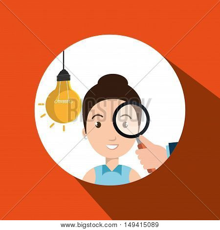 woman search idea think vcector illustration eps 10