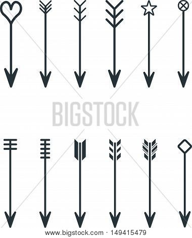 Graphic set of abstract vintage flat arrows