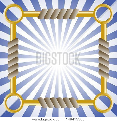 Square background with rope and chain. Eps 10