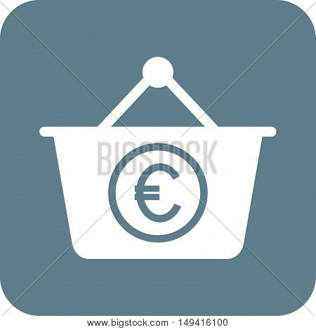 Basket, euro, money icon vector image. Can also be used for currency. Suitable for web apps, mobile apps and print media.