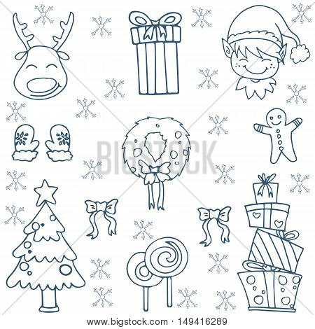 Christmas vector illustration doodles set collection stock