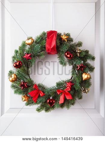 christmas winter decoration wreath fir tree star