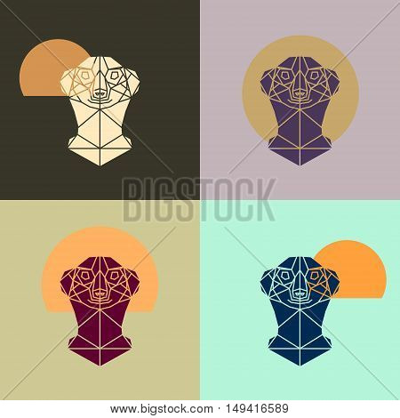 Meerkat head triangular icon geometric pattern trendy line design. Multicolor meerkat polygonal portrait. Abstract low poly design.