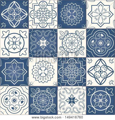 Seamless patchwork pattern from dark blue and white Moroccan tiles. Middle Ages Ornament Texture Template. Portuguese tiles Azulejo ornaments.