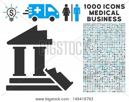 Historic Ruins icon with 1000 medical business gray and blue vector design elements. Clipart style is flat bicolor symbols, white background.