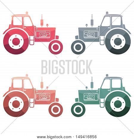 Multicolor Tractor icon set on white background. Vector illustration.