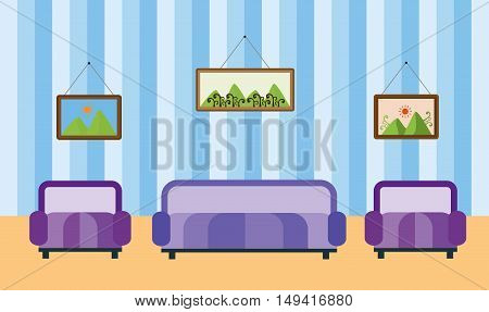 Abstract graphic room with sofa and armchairs