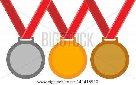 Abstract sports medals on a red ribbons