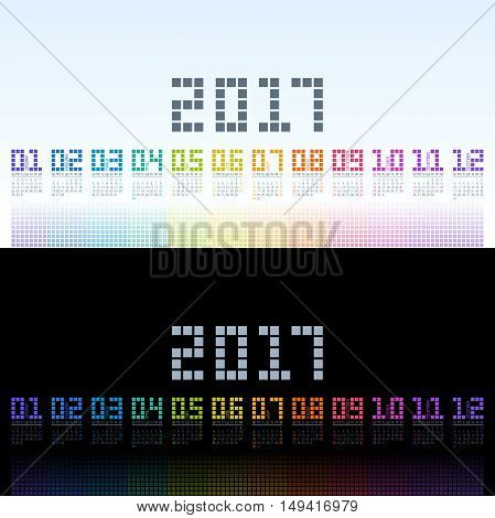 Calendar 2017 cool template with digital colorful shining for your designs. Vector EPS10.
