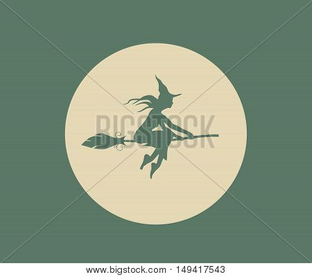 Vector illustration of flying young witch icon. Witch silhouette on a broomstick. Halloween relative image