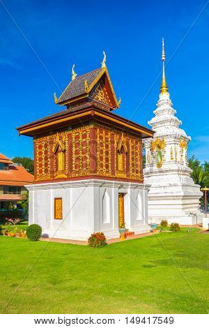 Temple in north of Thailand the left is library of Buddhist Scriptures. Buddhist temple of Wat Huakuang Nan province Thailand