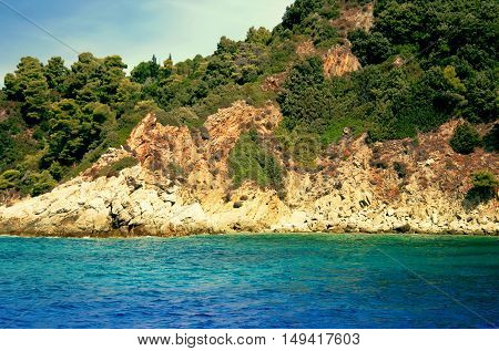 View From The Deck Of Cruise Ship On The Coast Of The Skiathos Island. Skiathos Island, Sporades Arc