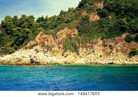 View From The Deck Of Cruise Ship On The Coast Of The Skiathos Island. Skiathos Island, Sporades Arc