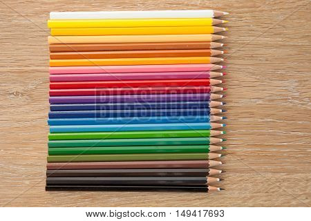 colorful group of pencils on a wooden table
