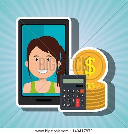 smartphone woman money coins vector illustration eps 10
