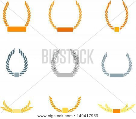 Abstract vintage set of graphic laurel wreath