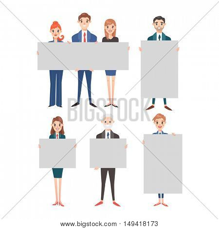 Business people hold banner vector set.