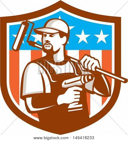 Illustration of a handyman with beard moustache facial hair holding paint roller on shoulder and cordless drill looking to the side set inside shield crest with usa flag stars and stripes in the background done in retro style.