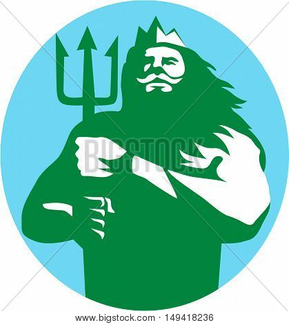 Illustration of triton mythological god holding trident viewed from front set inside circle on isolated background done in retro style.