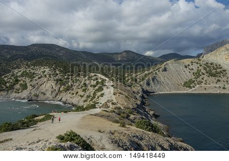 Landscape with a Cape Kapchik in Black Sea. Golitsyn trail southern coast of Crimea near Noviy Svet. Russia Ukraine