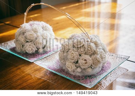 beautiful delicate bouquet of roses on the table