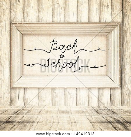 Hand drawn sketch of the books with handwritten text Back To School. Vintage interior. Retro background