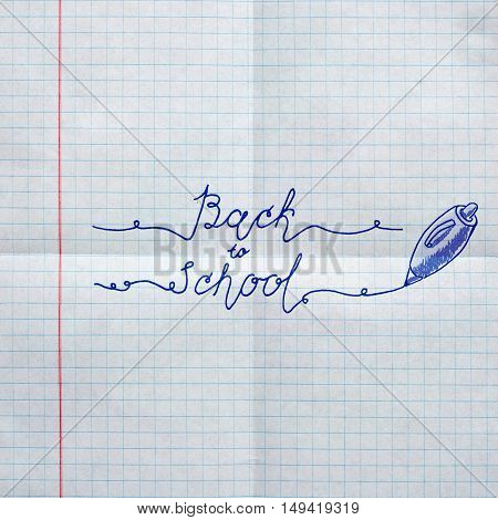 Poster on textured paper sheet in cell. Hand drawn sketch of the books with handwritten text Back To School