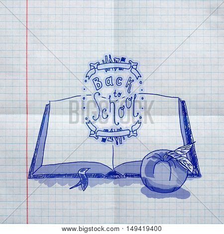 Poster On Textured Paper Sheet In Cell. Hand Drawn Sketch Of The Books With Handwritten Text Back To