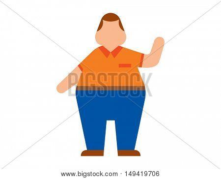 Fat human silhouette vector flat
