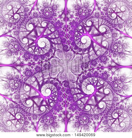 Abstract colorful floral ornament on white background. Symmetrical pattern in bright rose and violet colors. Fantasy fractal design for postcards wallpapers or clothes.