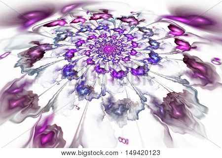 Abstract colorful pink and purple flower on white background. Fantasy fractal design for postcards or t-shirts.