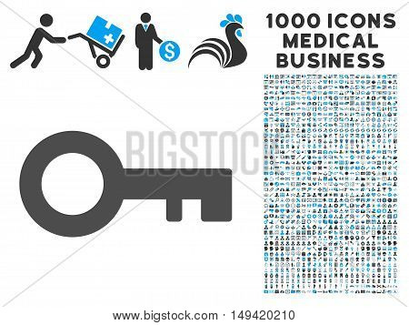 Key icon with 1000 medical business gray and blue vector design elements. Collection style is flat bicolor symbols white background.