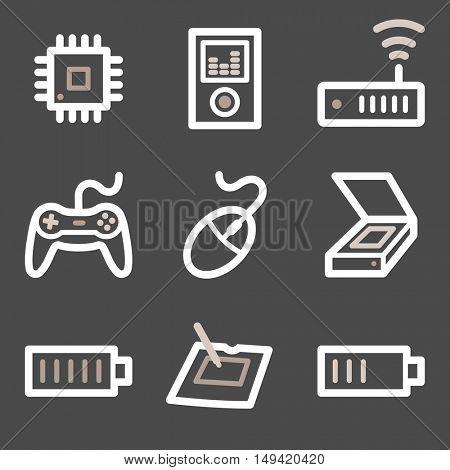 Computer web icons set. Electronics and computers mobile symbols.
