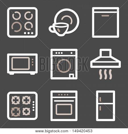 Home appliances mobile icons set, vector symbols.