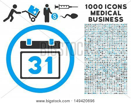 Last Month Day icon with 1000 medical commercial gray and blue vector pictograms. Clipart style is flat bicolor symbols white background.