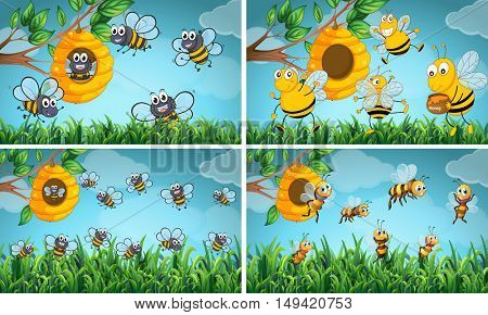 Scenes with bees and beehive illustration