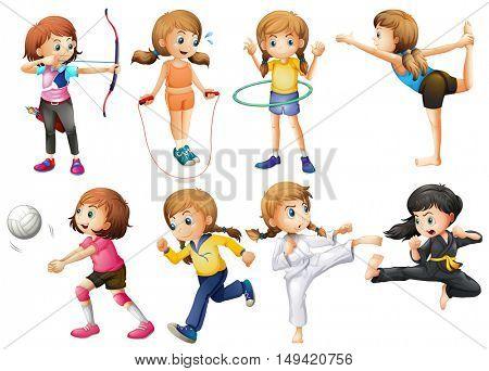Girls doing different kinds of sport illustration
