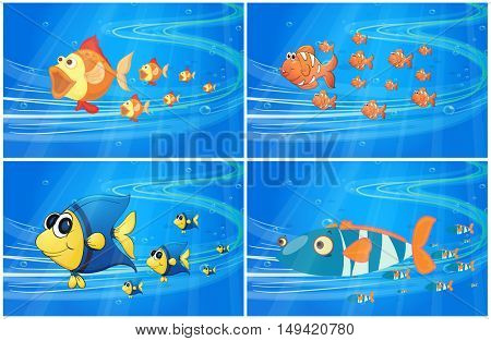 Scenes with fish under the water illustration