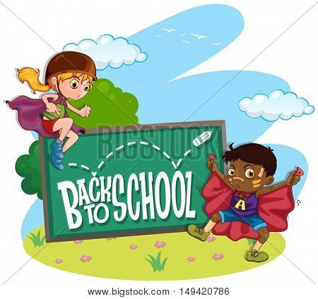 Kids and back to school sign illustration