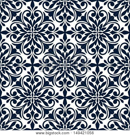 Ornamental floral pattern. Stylized damask ornate decor seamless tile. Vector ornament patchwork