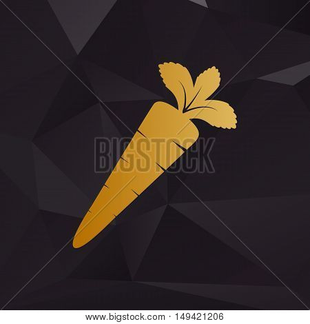 Carrot Sign Illustration. Golden Style On Background With Polygons.
