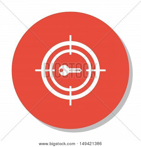 Vector Illustration Of Seo, Marketing And Advertising Icon On Target Keywords In Trendy Flat Style.