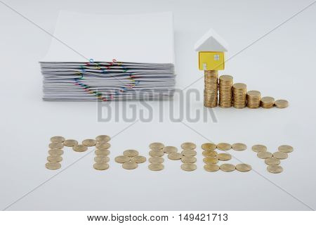 Step Pile Of Gold Coins With House And Pile Document