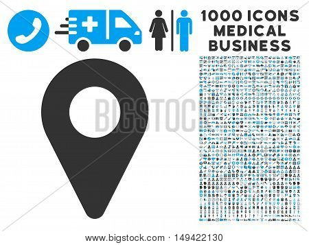 Map Marker icon with 1000 medical commerce gray and blue vector pictographs. Set style is flat bicolor symbols, white background.